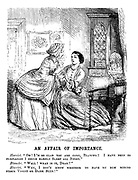 """An Affair of Importance. Harriet. """"Oh! I'm so glad you are come, Blanche! I have been so perplexed I could hardly sleep all night."""" Blanche. """"Well! What is it, dear?"""" Harriet. """"Why, I don't know whether to have my new merino frock violet or dark blue!"""""""