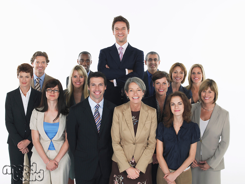 Group of smiling businesspeople man standing taller