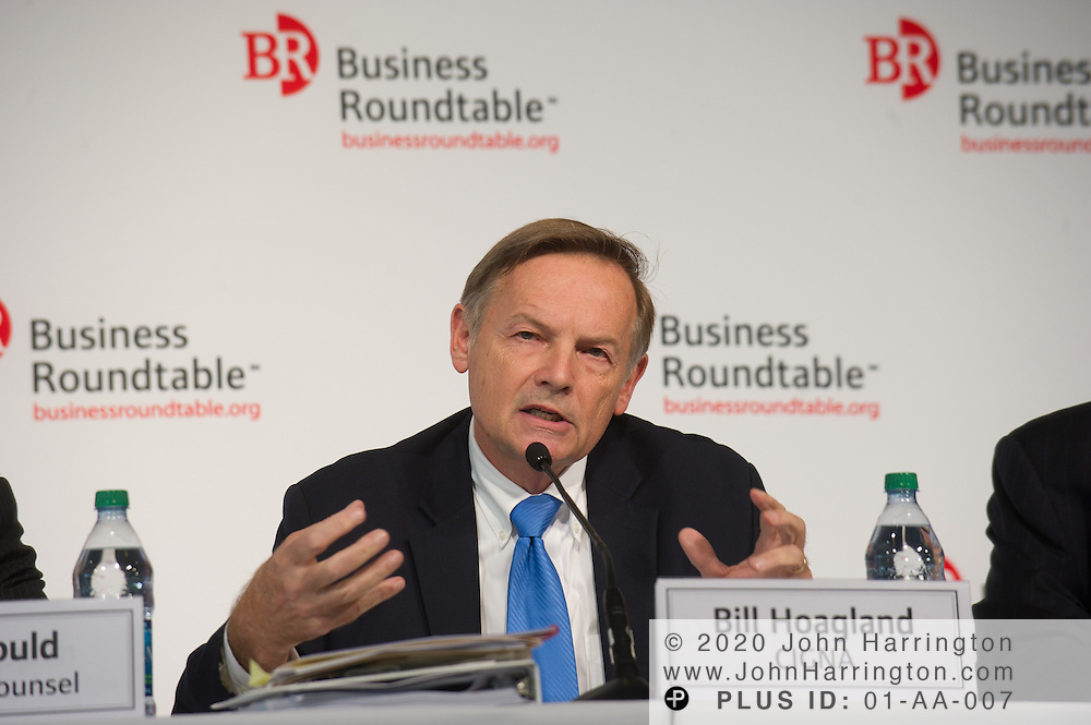 "Bill Hoagland, Vice President of Public Policy and Government Affairs at CIGNA speaks in a panel at the Business Roundtable ""Meeting the Challenges of Economic Growth and Deficit Reduction"" discussion at the Newseum in Washington, DC on September 6th, 2011."