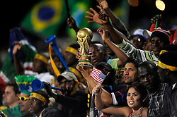 Fans of USA join the people of South Africa to watch the USA v Brazil match