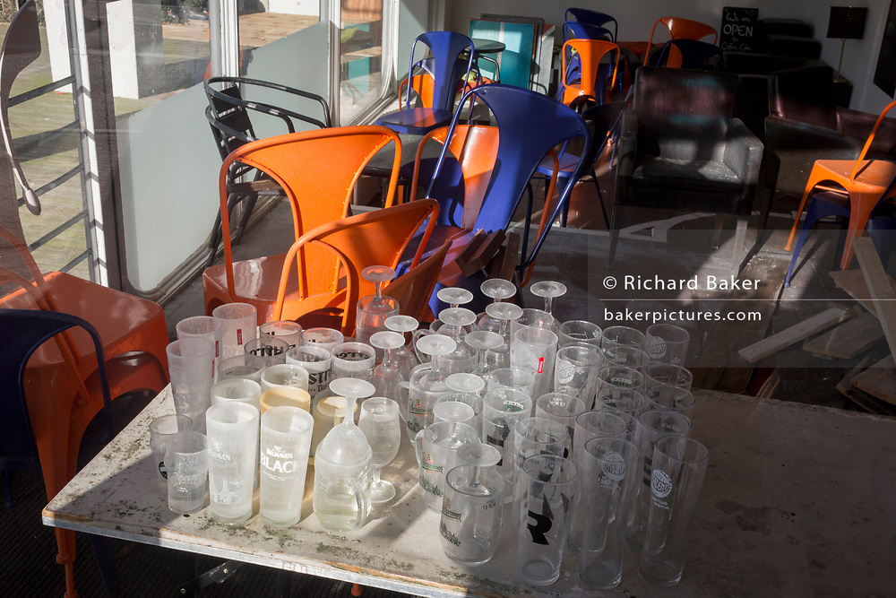 Glasses and seats are piled in the corner of a closed business on Wellesley Road, Croydon, on 21st January 2020, in Croydon, London, England.