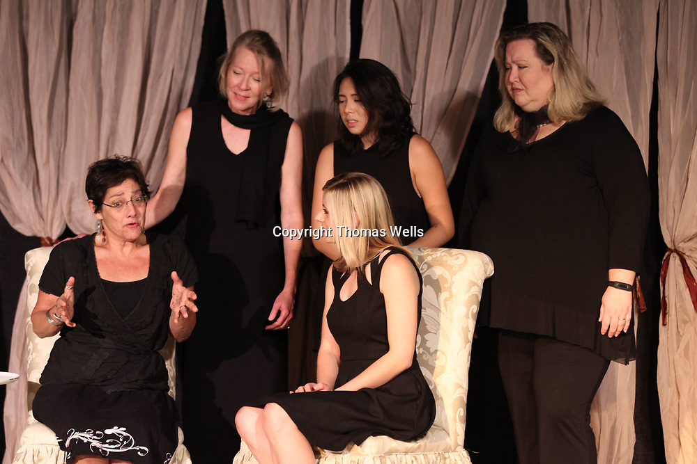 Barbara Fleishhacker, seated left, Maddie Ludt, Becky Shaffer, standing from left, Grace DcGguzman and Tracy Clark