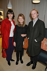 Left to right, GEORGIA COLERIDGE, DEBORAH EVERTON-WALLACH and her son CHRISTOPHER EVERTON-WALLACH at a talk by Geordie Greig about his book 'Breakfast With Lucian' held at Grace, 11c West Halkin Street, London on 22nd January 2014.