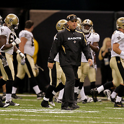 2009 September 03: New Orleans Saints head coach Sean Payton walks the field during warm ups before a preseason game between the Miami Dolphins and the New Orleans Saints at the Louisiana Superdome in New Orleans, Louisiana.