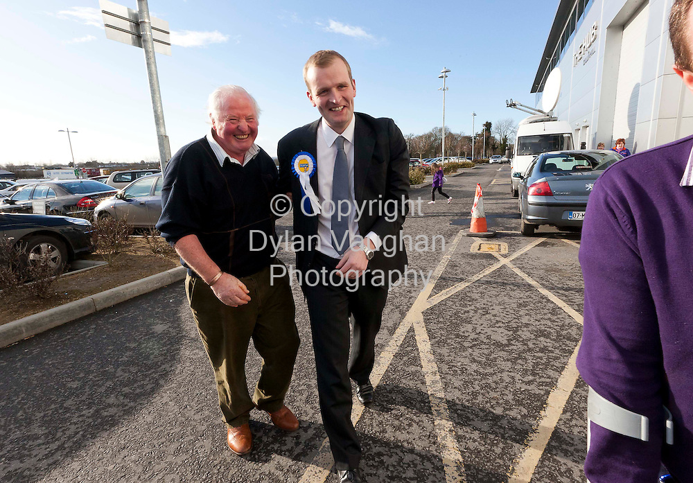 26/2/2011.John Paul Phelan Fine Gael pictured arriving to the count centre at Cillin Hill Kilkenny for the Carlow Kilkenny vote where he is expected to top the poll.Pictured with John Paul is Michael Drennan from Ballyhale..Picture Dylan Vaughan.....