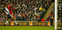 Photo: Aidan Ellis.<br /> Liverpool v Tottenham Hotspur. The Barclays Premiership.<br /> 14/01/2006. Liverpool's Harry Kewell volleys in the only goal of the game.