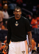 May 25, 2010; Phoenix, AZ, USA; Phoenix Suns forward Amare Stoudemire (1) warms up prior to the first quarter in game four of the western conference finals in the 2010 NBA Playoffs at US Airways Center.  Mandatory Credit: Jennifer Stewart-US PRESSWIRE
