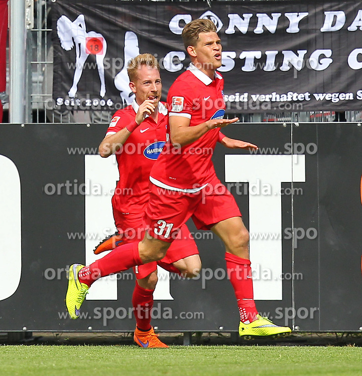 17.05.2015, Scholz Arena, Aalen, GER, 2. FBL, VfR Aalen vs 1. FC Heidenheim, 33. Runde, im Bild Marc Schnatterer (1.FC Heidenheim) rechts Florian Niederlechner (1.FC Heidenheim) jubel nach dem 1:2 // during the 2nd German Bundesliga 33th round match between VfR Aalen and 1. FC Heidenheim at the Scholz Arena in Aalen, Germany on 2015/05/17. EXPA Pictures &copy; 2015, PhotoCredit: EXPA/ Eibner-Pressefoto/ Langer<br /> <br /> *****ATTENTION - OUT of GER*****