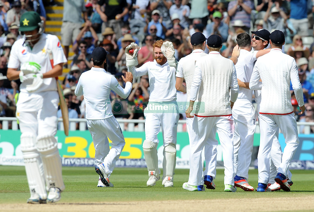 England players celebrate after James Anderson bowled Pakistan's Younis Khan, caught by England's Jonny Bairstow (centre), during day five of the 3rd Investec Test Match at Edgbaston, Birmingham.