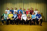 ARLANDA, SWEDEN - MARCH 21: Jens Gustafsson of IFK Norrkoping, Kim Bergstrand of IK Sirius, Rikard Norling of AIK, Patrick Winqvist of Trelleborgs FF, Özkan Melchemichel of Djurgardens IF, Nanne Bergstrand of Kalmar FF, Graham Potter of Ostersunds FK, Azrudin Valentić of Dalkurd FF, Stefan Billborn of Hammarby IF, Jimmy Thelin of IF Elfsborg, Poya Asbaghi of IFK Goteborg, Luis Pimenta of Brommapojkarna, Axel Kjall of Orebro SK, Andreas Alm of BK Hacken, Magnus Pehrsson of Malmo FF and Joel Cedergren of GIF Sundsvall during the Allsvenskan Kick-Off Meeting at Clarion Hotel Arlanda on March 21, 2018 in Arlanda, Sweden. Photo by Nils Petter Nilsson/Ombrello ***BETALBILD***