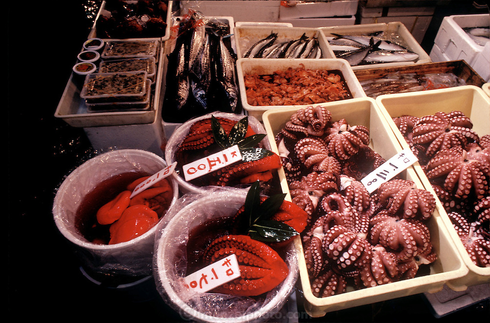 Octopus and fish for sale in the famed Tsujiki fish market and auction site, Tokyo, Japan. (Supporting image from the project Hungry Planet: What the World Eats).