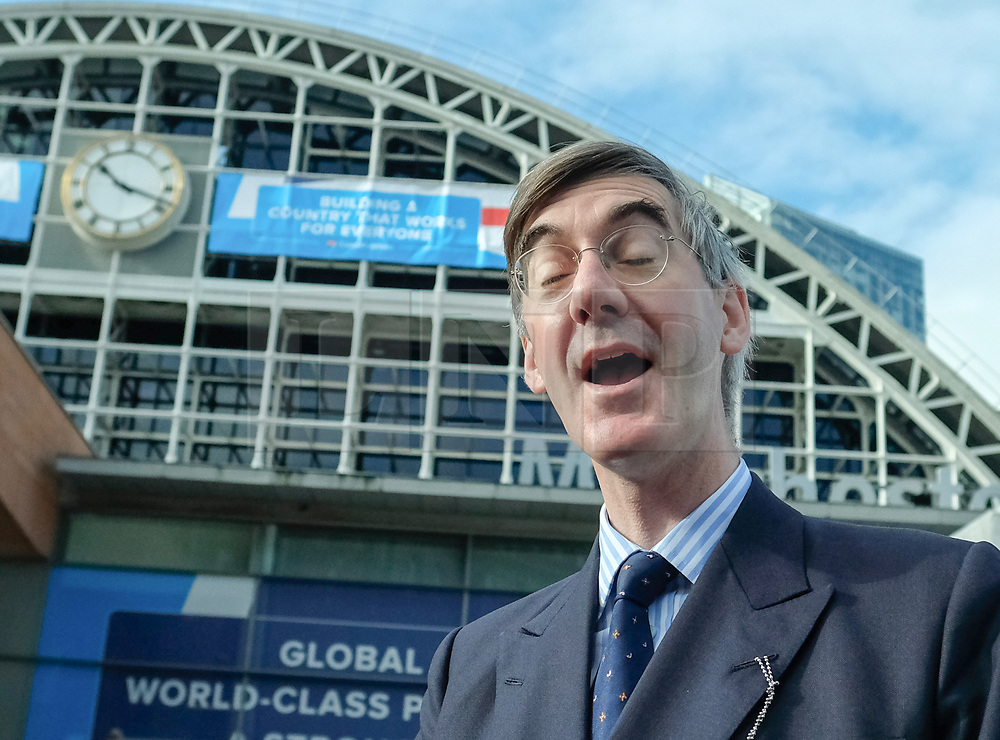 (c) Licensed to London News Pictures. <br /> 03/10/2017<br /> Manchester, UK<br /> <br /> Jacob Rees-Mogg MP reacts as he speaks to members of the media at the Conservative Party Conference held at the Manchester Central Convention Complex.<br /> <br /> Photo Credit: Ian Forsyth/LNP