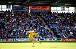 A general view of the crowd during the Sky Bet League One play-off second leg match at Montgomery Waters Meadow, Shrewsbury.