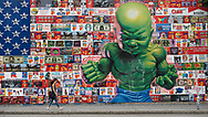 """""""All American Temper Tot""""  by street artist Ron English on E. Houston and The Bowery in New York City"""
