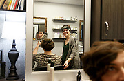 "Ashleigh Buch left, has her hair cut and styled by Rachel Brodsky, right, on Sunday, February 26, 2017 at Boss Studios in Omaha. Brodsky was Buch's hair stylist before she came out as being trans. After a year of doing her hair and waxing her legs she came out to Brodsky who was accepting and supportive. One night she went to Brodsky's work near closing time where after everyone left Brodsky taught her how to do makeup. ""She's been there almost every step of the way,"" Buch said."