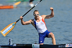 THOMAS SIMART (FRANCE) CELEBRATES HIS SILVER MEDAL IN MEN'S C1 200 METERS FINAL A RACE DURING 2010 ICF KAYAK SPRINT WORLD CHAMPIONSHIPS ON MALTA LAKE IN POZNAN, POLAND...POLAND , POZNAN , AUGUST 22, 2010..( PHOTO BY ADAM NURKIEWICZ / MEDIASPORT ).
