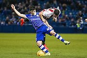 Sheffield Wednesday forward  Fernando Forestieri (45)  turns Brentford defender John Egan (14)  during the EFL Sky Bet Championship match between Sheffield Wednesday and Brentford at Hillsborough, Sheffield, England on 21 February 2017. Photo by Simon Davies.
