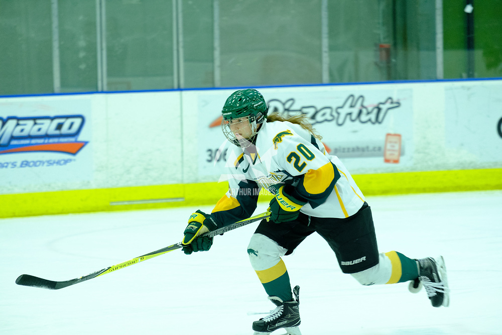 2nd year defence man Mariah McKersie (20) of the Regina Cougars in action during the Women's Hockey Home Game on October 21 at Co-operators Arena. Credit Matt Johnson/©Arthur Images 2017