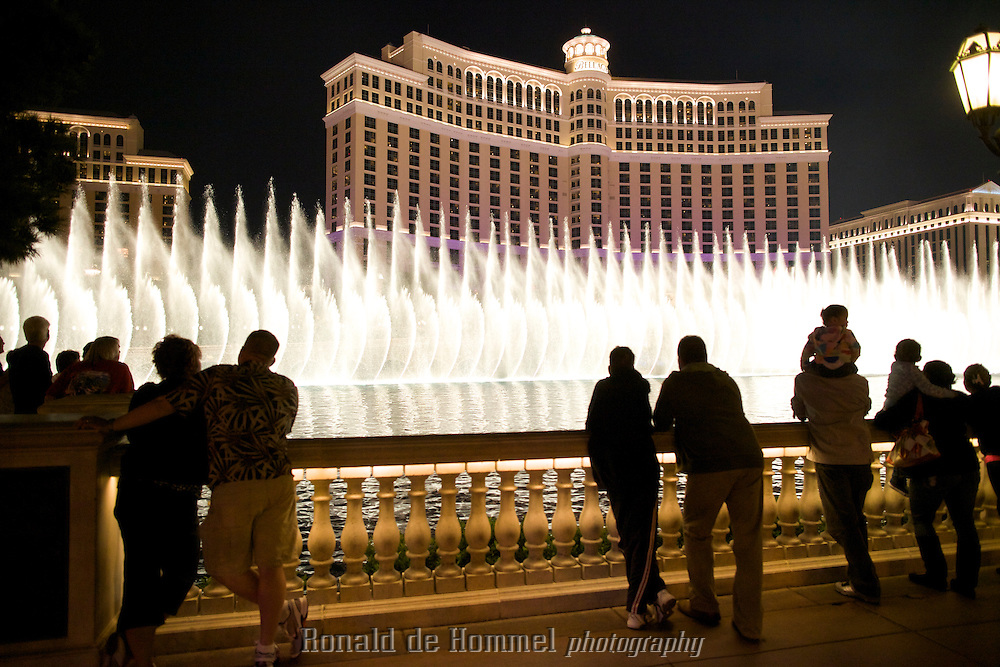 Inspired by the Lake Como resort of Bellagio in Italy, Bellagio is famed for its elegance. One of its most notable features is an 8-acre (3.2 ha) lake between the building and the Strip, which houses the Fountains of Bellagio, a large dancing water fountain synchronized to music.<br /> The Las Vegas Strip uses 3% of al the water in Las Vegas. Pat Mulroy, director of the Southern Nevada Water Authority praises the cooperation of the Casino owners in her efforts to curb water waste.<br /> Photo: Ronald de Hommel / Johannes Abeling