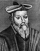 Michel Nostradamus (1503-1556) French physician and astrologer. 17th century copperplate engraving