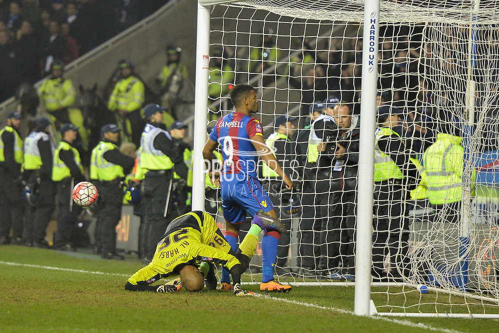 Crystal Palace striker Frazier Campbell celebrates his goal  0-2 during the The FA Cup Quarter Final match between Reading and Crystal Palace at the Madejski Stadium, Reading, England on 11 March 2016. Photo by Mark Davies.