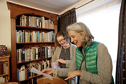 UK ENGLAND FOWEY 19FEB15 - Ann Willmore and Tatiana De Rosnay view the private collection at Bookends of Fowey, Cornwall, England, a specialist bookshop on literature by famous English novelist Daphne Du Maurier. Fowey, a small fishing and harbour village was the living place of famous English writer Daphne Du Maurier and many of her novels are based here.<br /> <br /> jre/Photo by Jiri Rezac<br /> <br /> © Jiri Rezac 2015