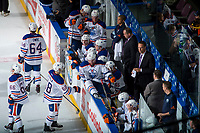 PENTICTON, CANADA - SEPTEMBER 9: The Edmonton Oilers bench against the Winnipeg Jets on September 9, 2017 at the South Okanagan Event Centre in Penticton, British Columbia, Canada.  (Photo by Marissa Baecker/Shoot the Breeze)  *** Local Caption ***