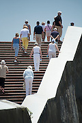 PANAMA, PANAMA - MARCH 07: A group of tourist climbing the stairs at Plaza de Francia. March 07, 2010. Panama, Panamá. (Photo: Rubén Alfú / Istmophoto)
