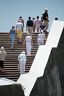 PANAMA, PANAMA - MARCH 07: A group of tourist climbing the stairs at Plaza de Francia. March 07, 2010. Panama, Panamá. (Photo: Rubén Alfú / Istmophoto)
