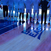 January 9, 2018, New York, NY : The St. John's men's basketball team stand on the court prior to Tuesday night's matchup between the Hoyas and Red Storm at the Garden. In something of a rematch of their 1985 contest, Basketball greats Patrick Ewing and Chris Mullin returned to Madison Square Garden on Tuesday night to face off as coaches with their respective Georgetown and St. John's teams.  CREDIT: Karsten Moran for The New York Times