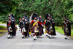 Pictured: Soldiers of 5 Scots (Argyll and Sutherland Highlanders) of The Royal Regiment of Scotland are inspected by HM Queen Elizabeth on her arrival for her summer stay at Balmoral Castle, Michael Craig   EEm date
