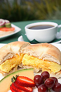 Breakfast Bagel With Fruit And Orange Juice