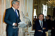 """Michel Drucker and Deputy Prime Minister Didier Reynders  at the ceremony who Michel Drucker was awarded at  the title of Commander of the Order of the Crowne at the Palace Egmont"""" at Brussels, 2014 in Brussels, Belgium."""