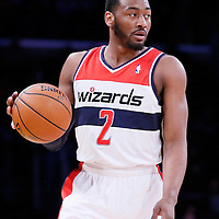 21 March 2014: Washington Wizards guard John Wall (2) brings the ball up court during the Washington Wizards 117-107 victory over the Los Angeles Lakers at the Staples Center, Los Angeles, California, USA.