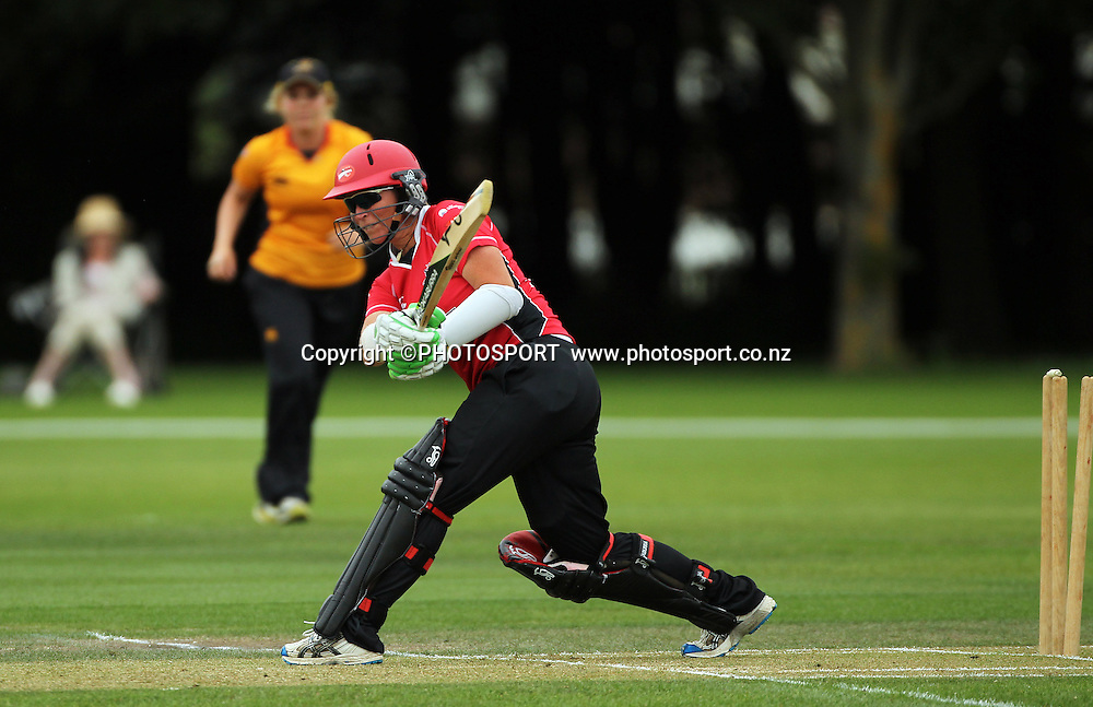 Mandie Goldiman batting for Canterbury is bowled. Canterbury Magicians v Wellington Blaze. Action Cricket Twenty20, womens cricket match, Lincoln No. 3, Lincoln University, Thursday 29 December 2011. Photo : Joseph Johnson / photosport.co.nz