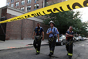 Atmosphere at the Scaffling Collapses in Brooklyn leaving two injured and one dead in the Park Slope section of Brooklyn, New York on August 18, 2009..Workers finishing construction on The Ansonia Court Properties were drop approxiamately four-stories after riggings gave way and lead to the death of unknown worker and injuring two other workers in the Park Slope section of Brooklyn