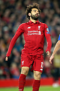 Liverpool forward Mohamed Salah (11)  shows his frustration after missing a chance during the Champions League Quarter-Final Leg 1 of 2 match between Liverpool and FC Porto at Anfield, Liverpool, England on 9 April 2019.