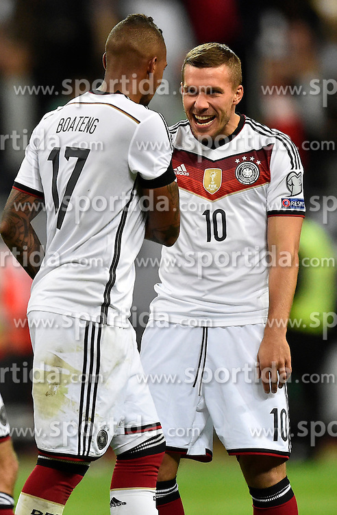 04.09.2015, Commerzbank Arena, Frankfurt, GER, UEFA Euro Qualifikation, Deutschland vs Polen, Gruppe D, im Bild nach dem Spiel Jerome Boateng (GER) (links) und Lukas Podolski (GER) (rechts) // during the UEFA EURO 2016 qualifier Group D match between Germany and Poland at the Commerzbank Arena in Frankfurt, Germany on 2015/09/04. EXPA Pictures &copy; 2015, PhotoCredit: EXPA/ Eibner-Pressefoto/ Weber<br /> <br /> *****ATTENTION - OUT of GER*****
