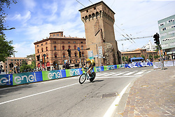 Team Jumbo-Visma riders head out for a practice run before Stage 1 of the 2019 Giro d'Italia, an individual time trial running 8km from Bologna to the Sanctuary of San Luca, Bologna, Italy. 11th May 2019.<br /> Picture: Eoin Clarke | Cyclefile<br /> <br /> All photos usage must carry mandatory copyright credit (© Cyclefile | Eoin Clarke)
