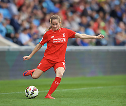 MANCHESTER, ENGLAND - Sunday, August 30, 2015: Liverpool's Ingrid Ryland during the League Cup Group 2 match against Manchester City at the Academy Stadium. (Pic by Paul Currie/Propaganda)