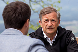 Planet TV interviews Karl Erjavec before the elections, on May 1st, 2018 at Sveti Jost nad Kranjem, Slovenia. Photo by Urban Urbanc / Sportida