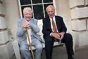 PAUL JOHNSON; LORD DAVID OWEN, David Campbell and Knopf host the 20th Anniversary of the revival of Everyman's Library. Spencer House. St. James's Place. London. 7 July 2011. <br /> <br />  , -DO NOT ARCHIVE-© Copyright Photograph by Dafydd Jones. 248 Clapham Rd. London SW9 0PZ. Tel 0207 820 0771. www.dafjones.com.