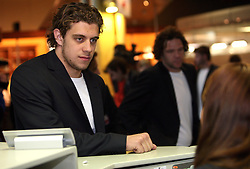 Anze Kopitar at departure of Slovenian national team to Hockey IIHF WC 2008 in Halifax, Canada,  on April 27, 2008 in Airport Joze Pucnik, Brnik, Slovenia.  (Photo by Vid Ponikvar / Sportal Images)
