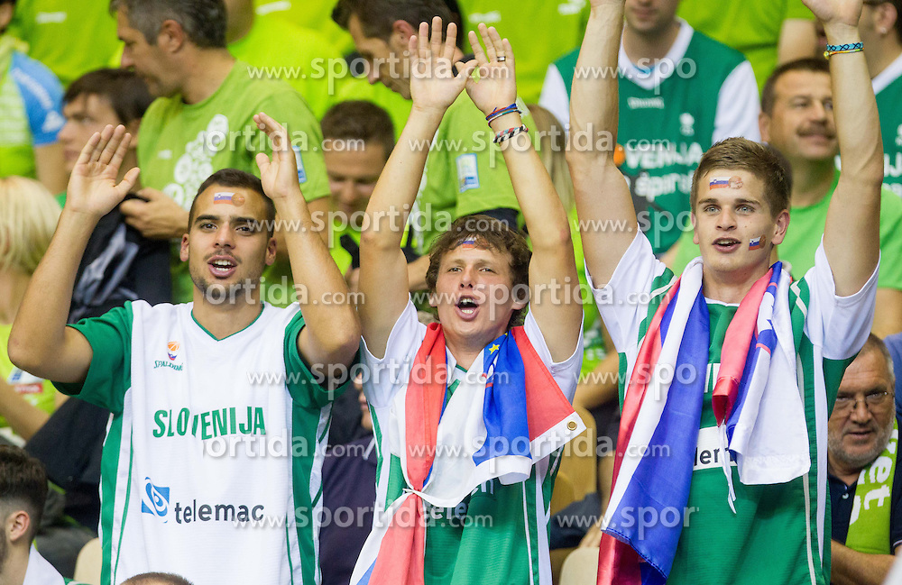 Fans during basketball match between National teams of Slovenia and Poland in Round 1 at Day 6 of Eurobasket 2013 on September 9, 2013 in Arena Zlatorog, Celje, Slovenia. (Photo by Vid Ponikvar / Sportida.com)