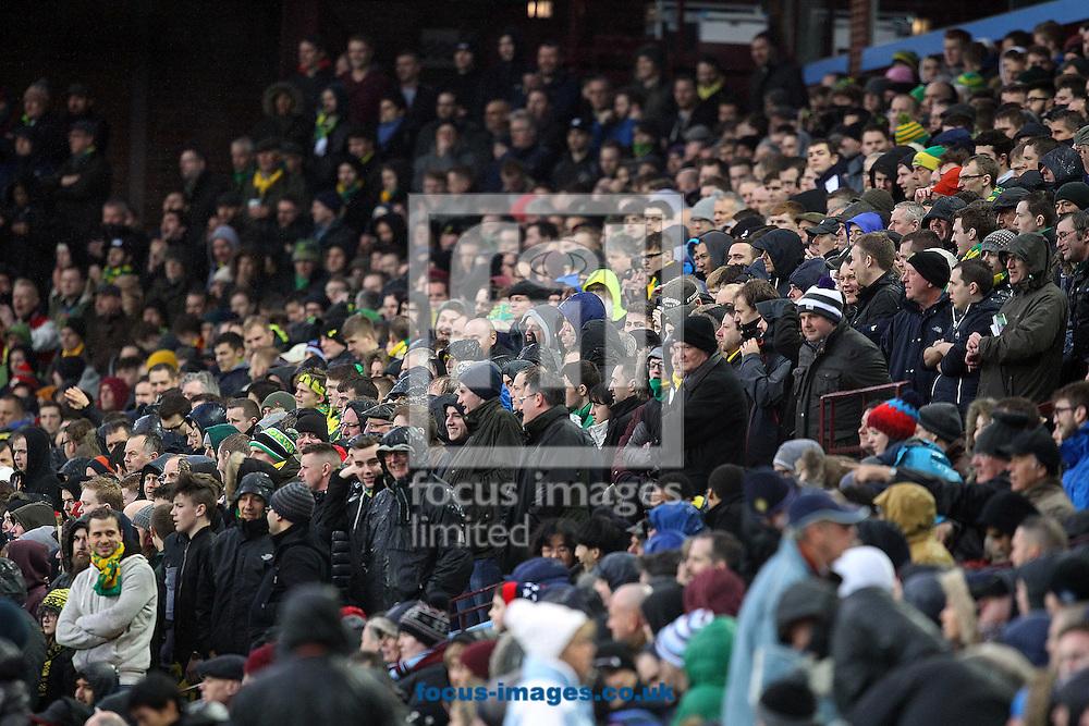 The traveling Norwich fans during the Barclays Premier League match at Villa Park, Birmingham<br /> Picture by Paul Chesterton/Focus Images Ltd +44 7904 640267<br /> 06/02/2016
