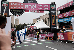 May 4, 2018 - Jerusalem, Israel - A rider crosses the finish line of the 9.7Km Jerusalem Individual Time Trial Stage 1 as the 101st edition of Giro d'Italia, the Corsa Rosa, began today in Jerusalem, history being made with the first ever Grand Tour start outside of Europe. (Credit Image: © Nir Alon via ZUMA Wire)