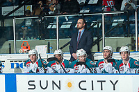 KELOWNA, CANADA - APRIL 7: Kelowna Rockets' Assistant Coach Kris Mallette stands on the bench against the Portland Winterhawks on April 7, 2017 at Prospera Place in Kelowna, British Columbia, Canada.  (Photo by Marissa Baecker/Shoot the Breeze)  *** Local Caption ***