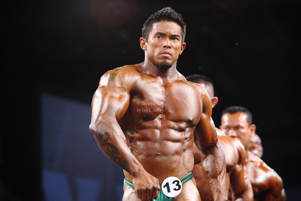 Stan McQuay on stage at the pre-judging for the 2009 Olympia 202 competition in Las Vegas.
