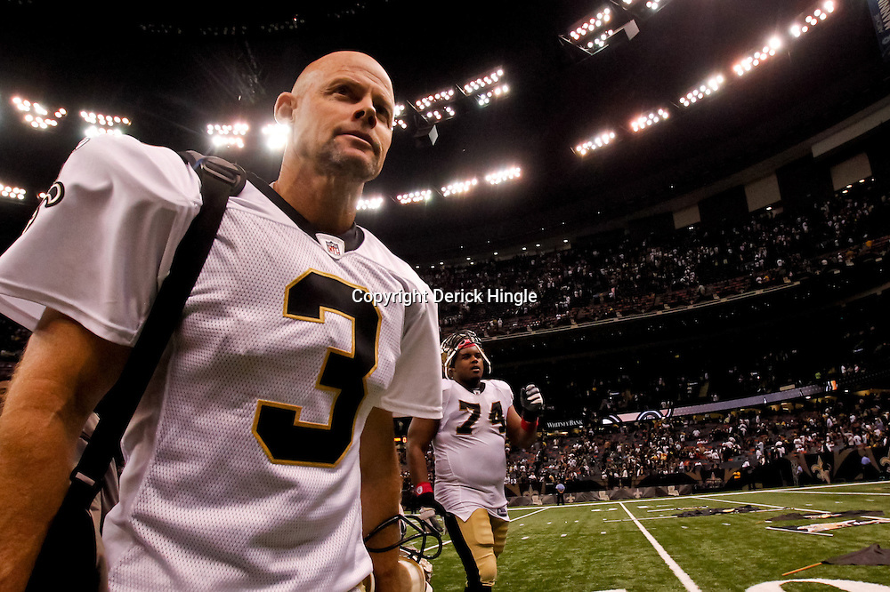 October 3, 2010; New Orleans, LA, USA; New Orleans Saints kicker John Carney (3) walks off the field following a win over the Carolina Panthers at the Louisiana Superdome. The Saints defeated the Panthers 16-14. Mandatory Credit: Derick E. Hingle