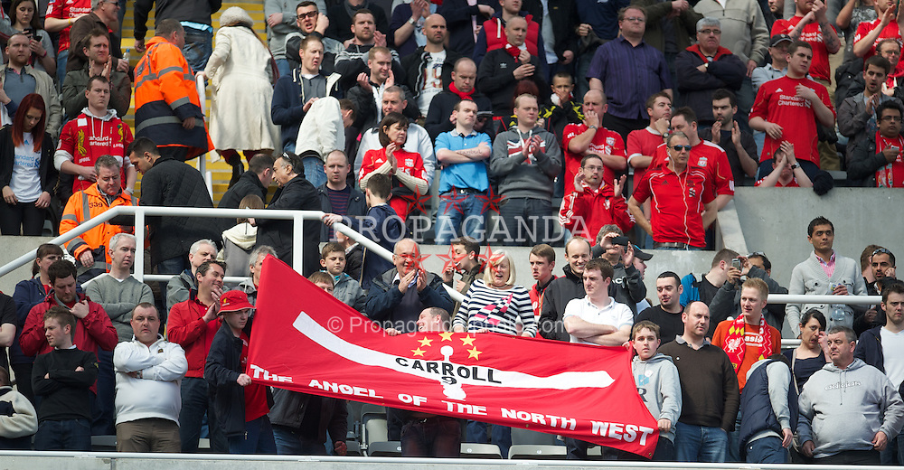 "NEWCASTLE-UPON-TYNE, ENGLAND - Sunday, April 1, 2012: Liverpool's supporters' banner ""Andy Carroll - The Angel Of The North West"" before the Premiership match against Newcastle United at St James' Park. (Pic by David Rawcliffe/Propaganda)"